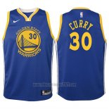 Camiseta Nino Golden State Warriors Stephen Curry #30 2017-18 Azul