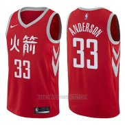 Camiseta Houston Rockets Ryan Anderson #33 Ciudad 2017-18 Rojo