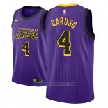 Camiseta Los Angeles Lakers Alex Caruso #4 Ciudad 2018 Violeta