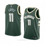 Camiseta Milwaukee Bucks Brook Lopez #11 Icon 2018 Verde