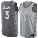 Camiseta Minnesota Timberwolves Anthony Brown #3 Ciudad 2018 Gris