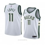 Camiseta Milwaukee Bucks Brook Lopez #11 Association 2018 Blanco