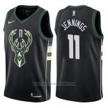 Camiseta Milwaukee Bucks Brandon Jennings #11 Statement 2017-18 Negro