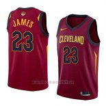 Camiseta Cleveland Cavaliers Lebron James #23 Icon 2017-18 Finals Bound Rojo