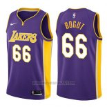 Camiseta Los Angeles Lakers Andrew Bogut #66 Statement 2017-18 Violeta