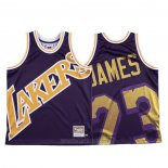 Camiseta Los Angeles Lakers Lebron James #23 Mitchell & Ness Big Face Violeta
