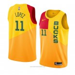 Camiseta Milwaukee Bucks Brook Lopez #11 Ciudad 2018-19 Amarillo