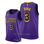 Camiseta Los Angeles Lakers Anthony Davis #3 Ciudad 2019 Violeta