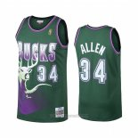 Camiseta Milwaukee Bucks Ray Allen #34 Hardwood Classics Verde