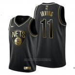 Camiseta Golden Edition Brooklyn Nets Kyrie Irving #11 Negro