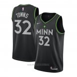 Camiseta Minnesota Timberwolves Karl-Anthony Towns #32 Ciudad 2020-21 Negro