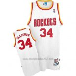Camiseta Houston Rockets Hakeem Olajuwon #34 Retro Blanco2