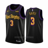Camiseta Los Angeles Lakers Anthony Davis #3 Ciudad 2019-20 Negro